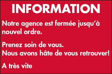 COVID-19 / FERMETURE DE L'AGENCE
