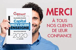 Gedimat élue Meilleure Enseigne 2020 par le magazine Capital