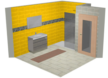 Plan 3D Salle de bains Gedimat