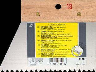 Couteau à colle lame acier dents trapézoïdales 5,5x3,5x5mm manche bois brut long.18cm - Gedimat.fr