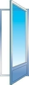 Porte fenêtre PVC blanc CALINA 1 vantail droit tirant haut.2,15m larg.80cm vitrage 4/16/4 basse émissivité - Gedimat.fr