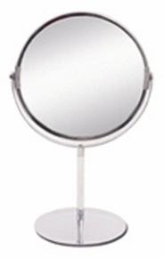 Miroir argent rond double face entourage métallique sur pied grossissant chromé diam.12cm - Gedimat.fr