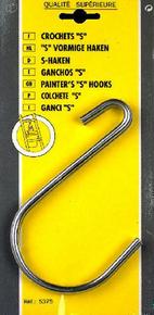 Crochet S acier nickelé ouverture 75mm long.155mm carte de 2 pièces - Gedimat.fr