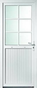 Porte de service isolante BAYEUX en PVC ISO140 Blanc gauche poussant haut.2,15m larg.90cm - Gedimat.fr