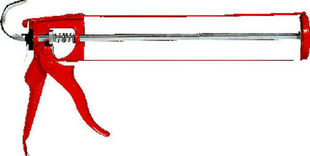 Pistolet pour cartouche type squelette professionnel acier long.300mm rouge - Gedimat.fr