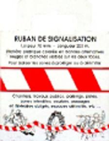 Ruban de signalisation polyéthylène larg.70mm long.200m rouge/blanc boite dévidoir - Gedimat.fr