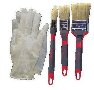 Brosse glycéro bi-matière avec 1 paire de gants lot de 4 pièces - Gedimat.fr