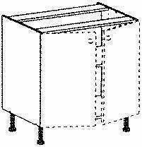 Meuble de cuisine BOIS SCIE BLANC bas 2 portes bp haut.70cm larg.120cm + pieds réglables de 12 à 19cm - Gedimat.fr