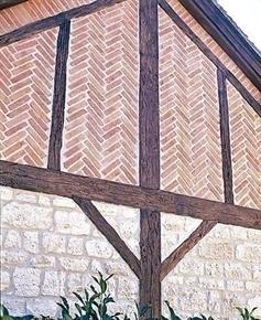 plaquettes de parement en pierre reconstitu e briquette haut 2cm long 24cm coloris rouge. Black Bedroom Furniture Sets. Home Design Ideas