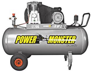 Compresseur POWER MONSTER professionnel 3HP courroie bi cylindre cuve de 200L - Gedimat.fr