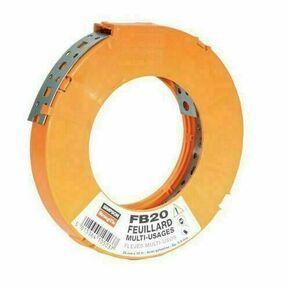 Feuillard acier galvanisé perforé larg.20mm ép.0,9mm rouleau 10m - Gedimat.fr