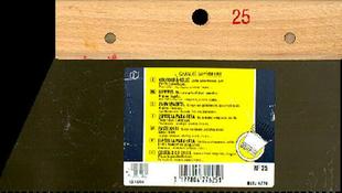 Couteau à colle lame acier dents rectangulaires 2,5x3x2,5mm manche bois brut long.25cm - Gedimat.fr
