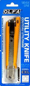 Cutter à lame rétractable larg.18mm Olfa EXL coloris jaune sous blister de 1 pièce - Gedimat.fr