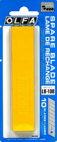 Lame de cutter acier trempé 18mm Olfa LB-10 étui de 10 pièces sur carte - Gedimat.fr