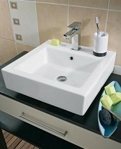 vasque carr e poser bali porcelaine blanc. Black Bedroom Furniture Sets. Home Design Ideas