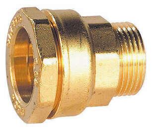 Raccord droit mâle laiton massif diam.15x21mm pour tuyau polyéthylène diam.25mm - Gedimat.fr