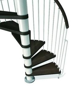 Escalier hélicoïdal kit KLAN acier/bois diam.1,20m haut.2,53/3,06m finition blanc/bois foncé - Gedimat.fr
