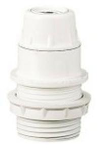 Douille électrique plastique culot à visser E14 chemise 1/2 filetée + bague diam.34mm blanche - Gedimat.fr