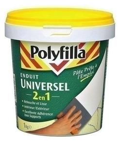 Enduit universel 2 en 1 POLYFILLA en poudre pot de 1kg blanc - Gedimat.fr
