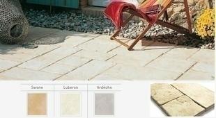 Dallage OPUS 28 CASTELLANE multiformat en pierre reconstituée d'aspect martelé ép.3,3cm coloris Savane - Gedimat.fr