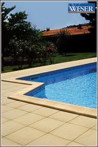Dalle de piscine pierre reconstituée FOURAS 50X50cm ép.2,5cm coloris sable - Gedimat.fr