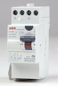 Interrupteur différentiel modulaire bipolaire type A 2x40A 30mA 220V - Gedimat.fr