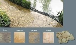Dalle pavé CHELSEA en pierre reconstituée aspect galets ép.4cm 40x40cm coloris Gironde - Gedimat.fr