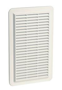 Grille d'aération spéciale façade NICOLL rectangulaire en applique avec moustiquaire haut.277mm larg.166mm coloris blanc - Gedimat.fr
