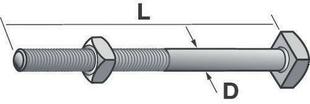 Boulon tête carrée acier galvanisé à chaud diam.16mm long.30cm - Gedimat.fr