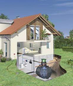 Kit de récupération et utilisation d'eau de pluie à enterrer KIT HABITAT CARAT ECO+ cuve 6500 L - Gedimat.fr