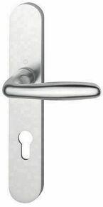 Ensemble de poignées de porte VERONA sur plaque aluminium finition anodisé ton argent avec trou de clé - Gedimat.fr