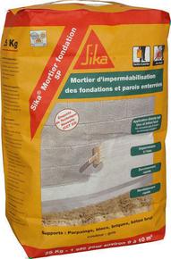 Enduit hydrofuge SIKA MORTIER FONDATION SP gris ciment sac de 25kg ...