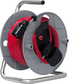 Enrouleur prolongateur J40 avec câble rouge 40m HO5VV-F 3G1,5 et disjoncteur thermique - Gedimat.fr
