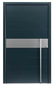 Porte d'entrée OXYGENE en aluminium gauche poussant haut.2,15m larg.1,00m laqué blanc - Gedimat.fr
