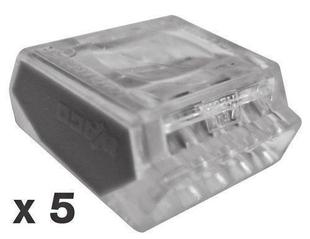 Borne de connexion électrique automatique capacité 5 conducteurs diam.1 à 2,5mm² en sachet de 5 pièces - Gedimat.fr