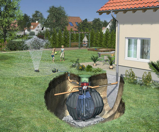 Kit de r cup ration d 39 eau de pluie enterrer kit jardin carat confort xl cuve 10000l - Cuve de recuperation d eau ...