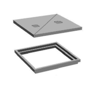 Cadre tampon pour regard chambre de distribution a10 int for Rehausse beton 50x50 castorama