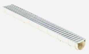 Caniveau domestique en composite MEA EASY 100 haut.9,4cm larg.10cm long.1m avec grille passerelle - Gedimat.fr