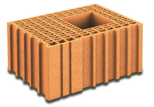 Brique terre cuite poteau complémentaire POROTHERM T30 ép.30cm haut.19cm long.42,5cm - Gedimat.fr