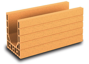 Brique terre cuite linteau-chaînage POROTHERM R20 ép.20cm haut.24,9cm long.50cm - Gedimat.fr