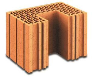 Brique terre cuite poteau POROTHERM R37 ép.37,5cm haut.24,9cm long.25cm - Gedimat.fr