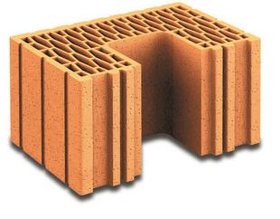 Brique terre cuite poteau complémentaire POROTHERM R37 ép.37,5cm haut.18,9cm long.25cm - Gedimat.fr