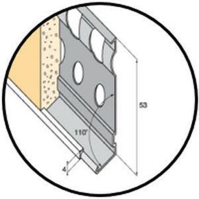 Profilé d'arrêt bas d'enduit métal perforé avec jonc pvc blanc ép.15mm long.3m - Gedimat.fr
