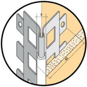 Protège-angle sortant en acier galvanisé perforé avec jonction PVC 188 saumon ép.15mm long.2,50m - Gedimat.fr