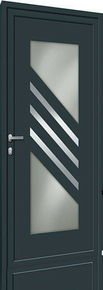 Porte d'entrée Aluminium NAYO avec isolation totale de 120 mm en aluminium laqué droite poussant haut.2,15m larg.90cm gris - Gedimat.fr