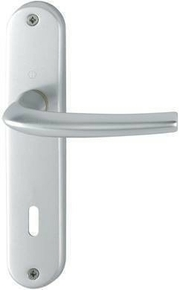 Ensemble de poignées de porte SAN DIEGO sur plaque en aluminium entraxe 165mm finition argent avec trou de cylindre - Gedimat.fr