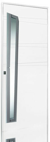 Porte d'entrée CHRYSTAL en aluminium gauche poussant haut.2,15m larg.90cm laqué blanc - Gedimat.fr