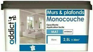 Peinture monocouche mat acrylique blanc 2,5L - Gedimat.fr