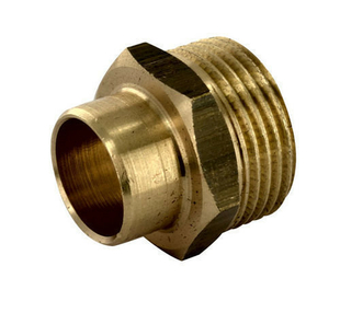 Raccord fer-cuivre droit laiton brut mâle diam.15x21mm à souder diam.10mm 1 pièce - Gedimat.fr