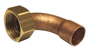 Raccord 2 pièces coudé laiton/cuivre à écrou prisonnier diam.12x17mm pour tube diam.14mm 1 pièce sous coque - Gedimat.fr
